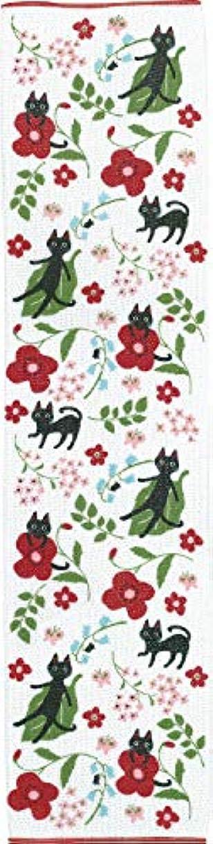 指紋アラブサラボずんぐりしたコージカンパニー ナイロンボディタオル 25×100cm NEKO にゃーご 花 レッド 184002H