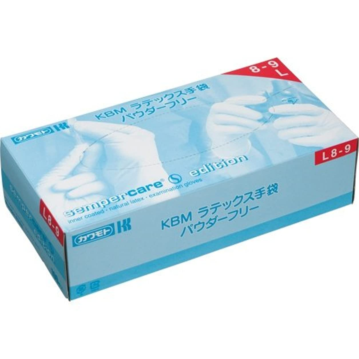 寮脱走非互換カワモト KBM ラテックス手袋 パウダーフリー L 1セット(300枚:100枚×3箱)