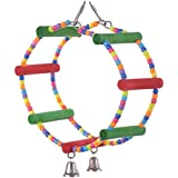 Bird Toy Parrot Cage Toys,AWAkingdemi Arch Swing Bird Toy Parrot Harness Rings Toys Parakeet Cockatiel
