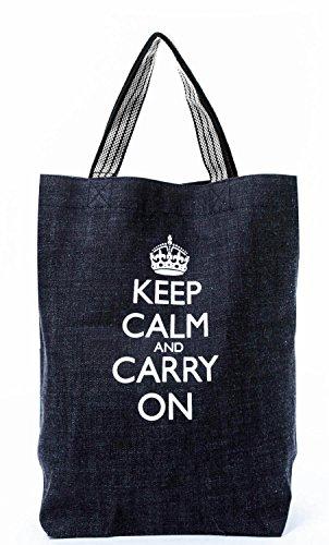 岡山デニム ショルダーバッグ Keep Calm and Carry On(インディゴ)