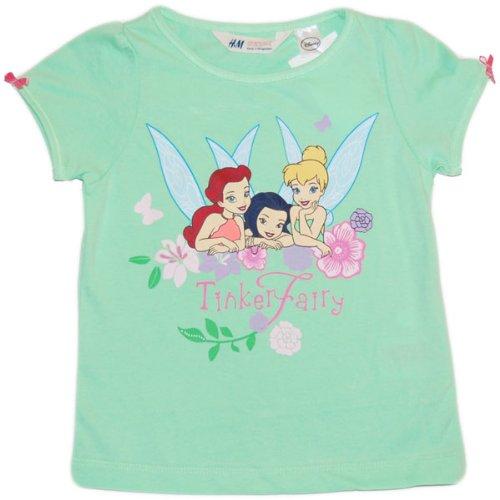 ディズニーコラボ女の子用エメラルドグリーンティンカーベルなりきりTシャツ エイチアンドエム