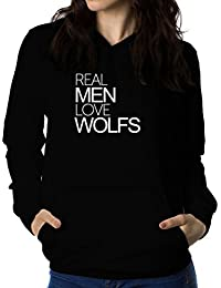 Real men love Wolf 女性 フーディー