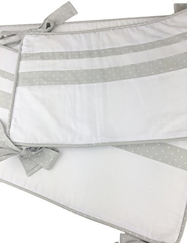 Kidz Kiss Petit Dots Grey Reversible Cot Bumper / Bassinet Bumper [225 x 30cm] Premium cotton, polyester filling, breathable, keeps baby safe