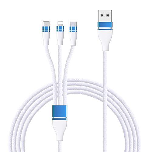 3in1 充電ケーブル 3イン1 充電ケーブル Micro usb ケーブル ライトニングケーブル USB Type-Cケーブル 2.4A急速充電 高速データ転送対応 小型ヘッド設計 高耐久編組ナイロンケーブル iphone android type-c 同時給電可能 1本3役 多機種対応 1.2m 白