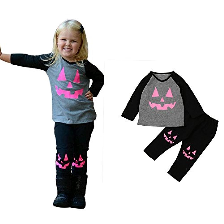 Franterd Pumpkin Patchハロウィン服装セット、ベビーガールズTシャツトップス+パンツ服