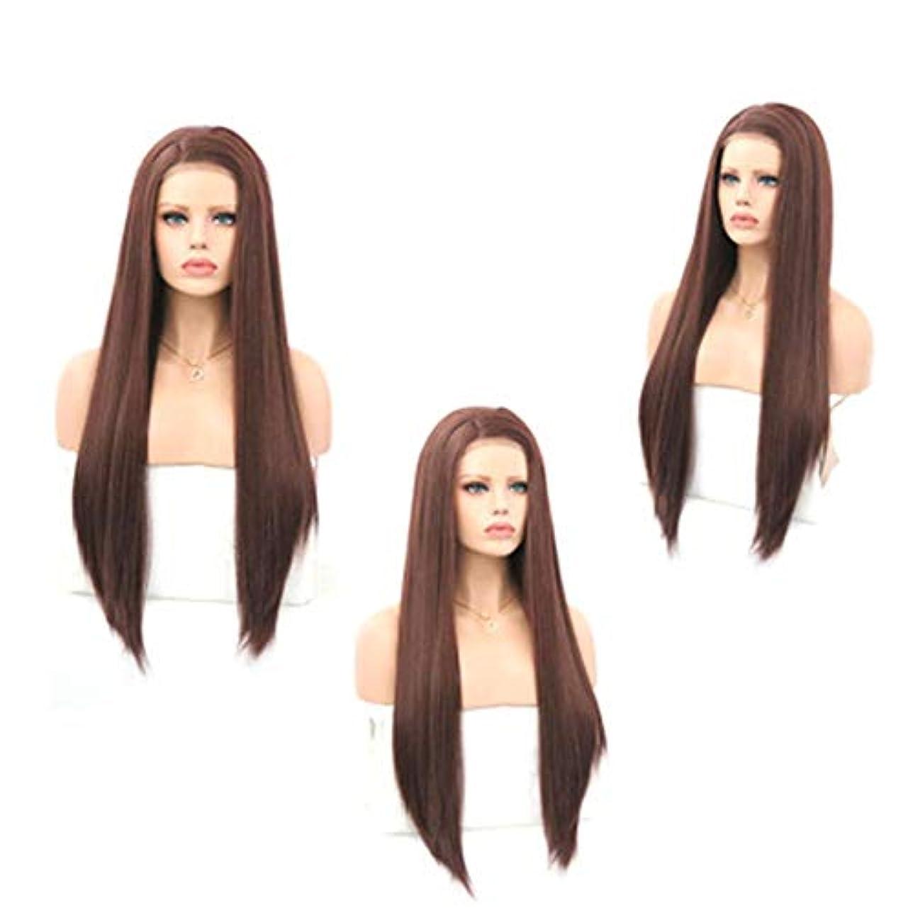 キャッチ不明瞭モッキンバードZXF 茶色の女性のフロントレースの化学繊維かつらヘッドギア高温シルク半手の長いストレートの髪にフック 美しい