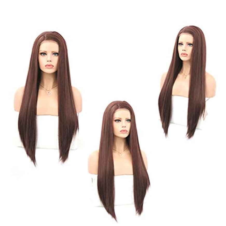 昆虫を見る驚くばかり宝ZXF 茶色の女性のフロントレースの化学繊維かつらヘッドギア高温シルク半手の長いストレートの髪にフック 美しい