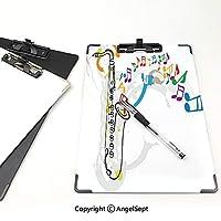 クリップボード クリップファイル ジャズ音楽 学校・ご家庭・オフィスなど場所 (2パック)祝賀祭のテーマカラフルなアートワークと音符とサックスオレンジグリーンレッド