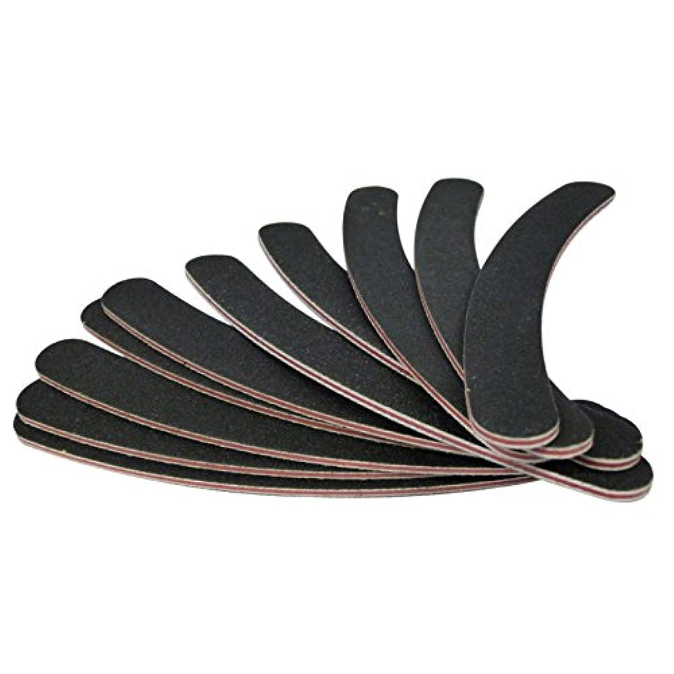 民間異なる帽子upperx 10ダブル両面100/180グリットブーメラン/バナナカーブ爪やすり英国エメリーボード