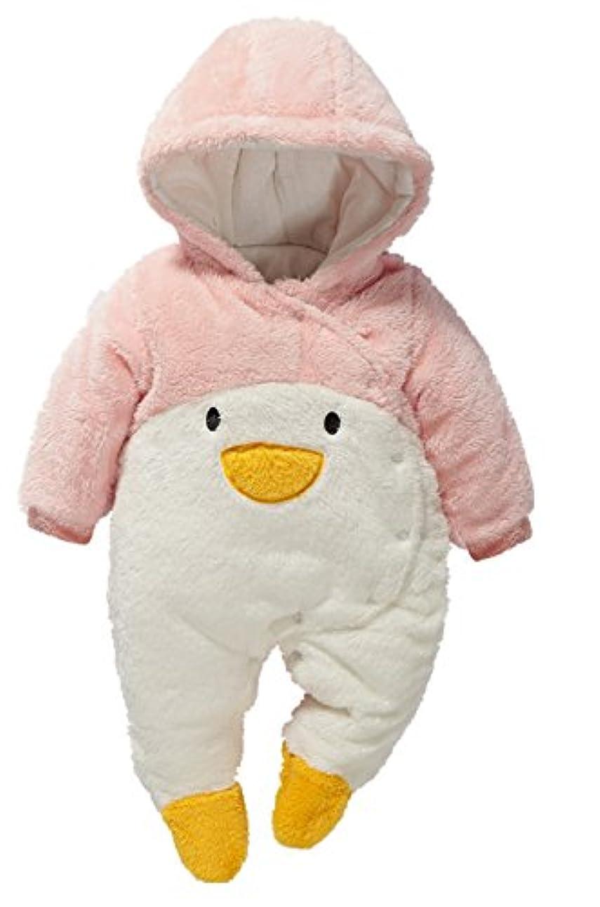 ゆるく取り出す親密なC-Princess ベビー キッズ用 カバーオール アニマル 着ぐるみ ロンパース フード付き 赤ちゃん 子ども服 厚手 防寒着 もこもこ コスチューム (73, Bピンクペンギン)