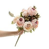 人工フラワー ヨーロッパ風シミュレーション牡丹偽ブーケホームリビングルームテーブルフラワーデコレーションフラワー 造花 (Color : A)