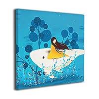"""King Duck クジラ 絵画 正方形 インテリア インナー フレーム装飾画 アートポスター 額縁なし 壁画 アートパネル 壁掛け 木枠付き 20""""x20"""""""