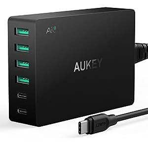 [Quick Charge 3.0 / USB-C]AUKEY スマホUSB充電器 ACアダプター 60W 6ポート AiPower搭載 USB C ケーブル付属 同時急速充電可能 iPhone 7 plus/iPhone 6/iPad/Galaxy/Xperia/Nexus/LGなどに対応 (ブラック)PA-Y6