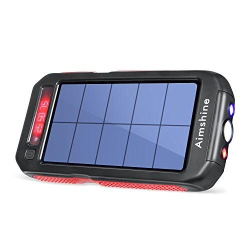 Aimshine モバイルバッテリー ソーラーチャージャー SOSライト付き 緊急対応品 急速充電器 15000mAh大容量 防水・防塵・耐衝撃 2USB出力ポート 1年間保証付き