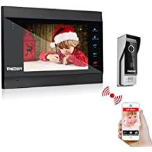 TMEZON 7 Inch Wireless/Wired Wifi IP Video Door Phone Doorbell Intercom Entry System with 1x1200TVL Wired Camera Night Vision,Support Remote unlocking,Talking,Monitoring