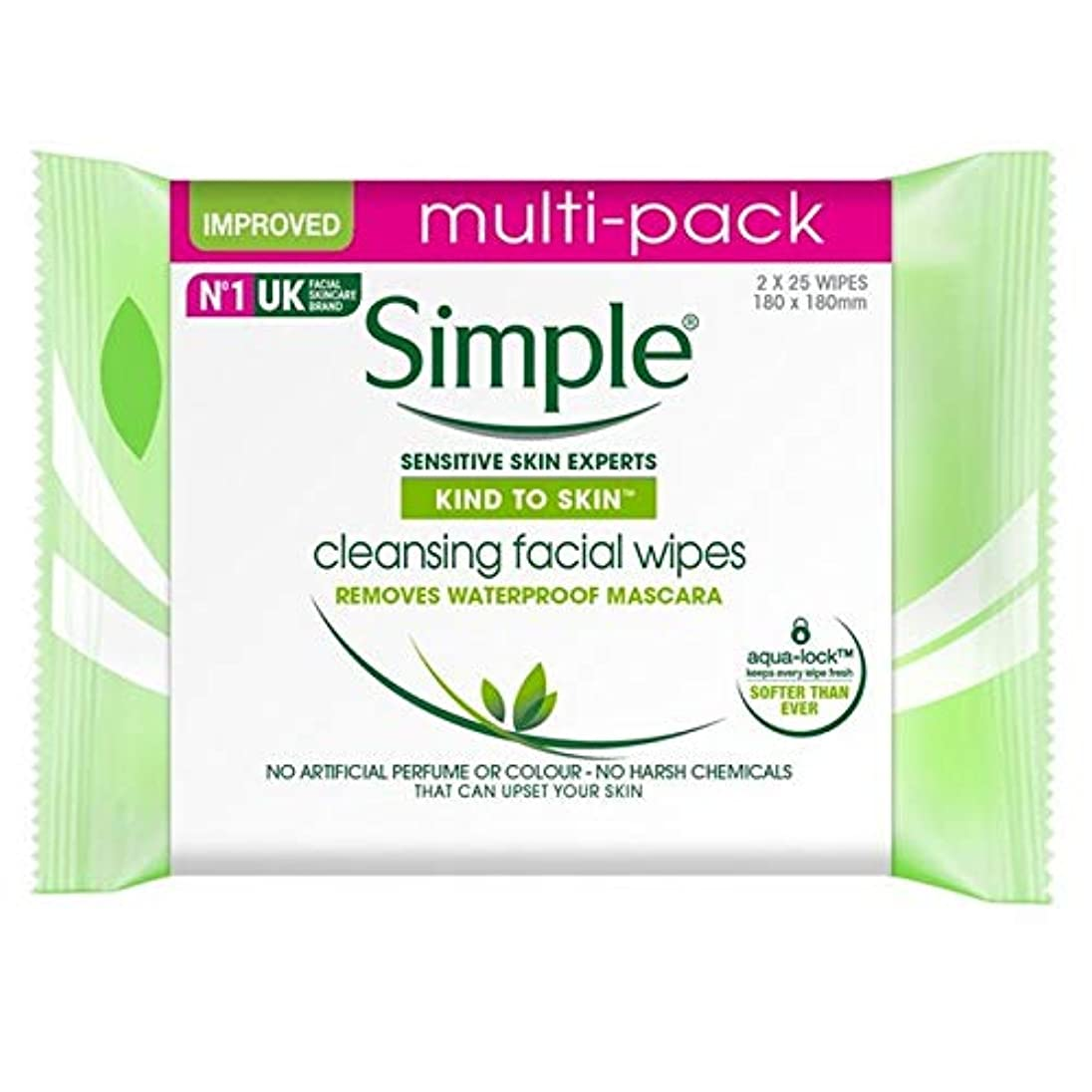 強打期限論理的[Simple ] 肌のクレンジングフェイシャルワイプ2×25パックあたりに簡単な種類 - Simple Kind To Skin Cleansing Facial Wipes 2 x 25 per pack [並行輸入品]