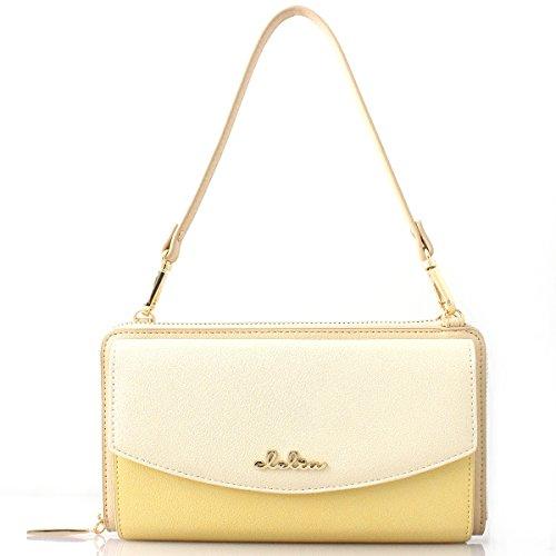 [クレリア] Clelia 長財布 レディース 大容量 バイカラー タッセル付き 3way 財布ショルダー 【CL-19272】 (ハニーレモン)