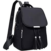 Qyoubi Women's Black Fashion Backpack Casual Daypacks Tassel Waterproof Anti-theft Girls Multipurpose Travel Bag