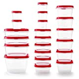 Rubbermaid Easy Find Vented Lids BPA Free Plastic Food Storage Containers, Set of 21 (42 Pieces Total), Racer Red, 2063704