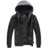 Wantdo Men's Faux Leather Jacket Removable Hood