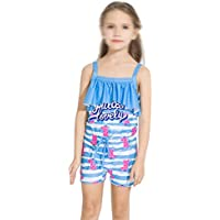 Comfortable Girls Swimwear Girls Middle School One-Piece Flat Swimsuit Girls Baby Sunscreen Swimwear Smooth (Color : Blue, Size : 18)