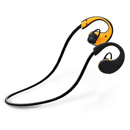 『LEVIN Bluetooth4.1 イヤホン 防水&防汗(IP66防水等級) 高音質 スポーツ仕様 ワイヤレスヘッドフォン (オレンジ&ブラック)』のトップ画像