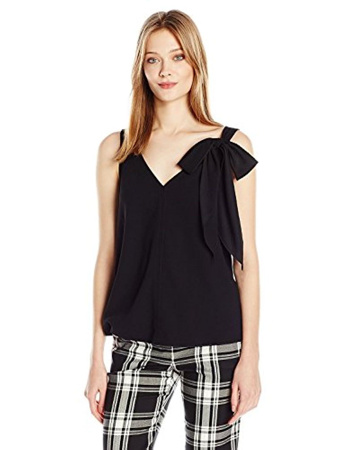 固執オッズ一回Trina Turk Women's Poetic Carmel Crepe Sleeveless Top with Bow Detail Black XS [並行輸入品]