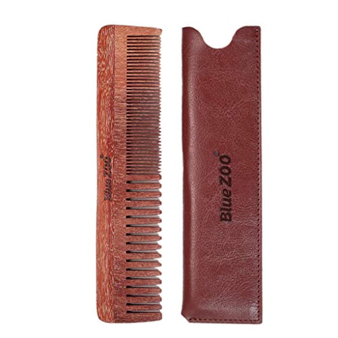 武器骨の折れる無駄B Baosity ウッドコーム 口ひげ櫛 ダブルサイド メンズ プレゼント 2色選べ - 褐色