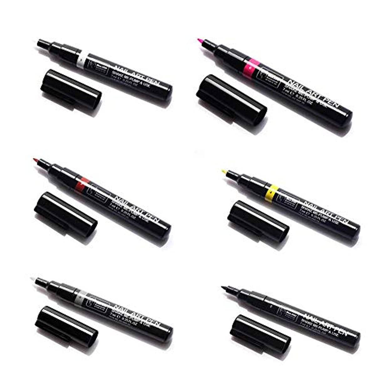 真鍮シャーク発疹6ピースネイルアートペン、3dネイルアートdiy装飾ネイルポリッシュペンセットネイル美容ツールペイントペン(1#)