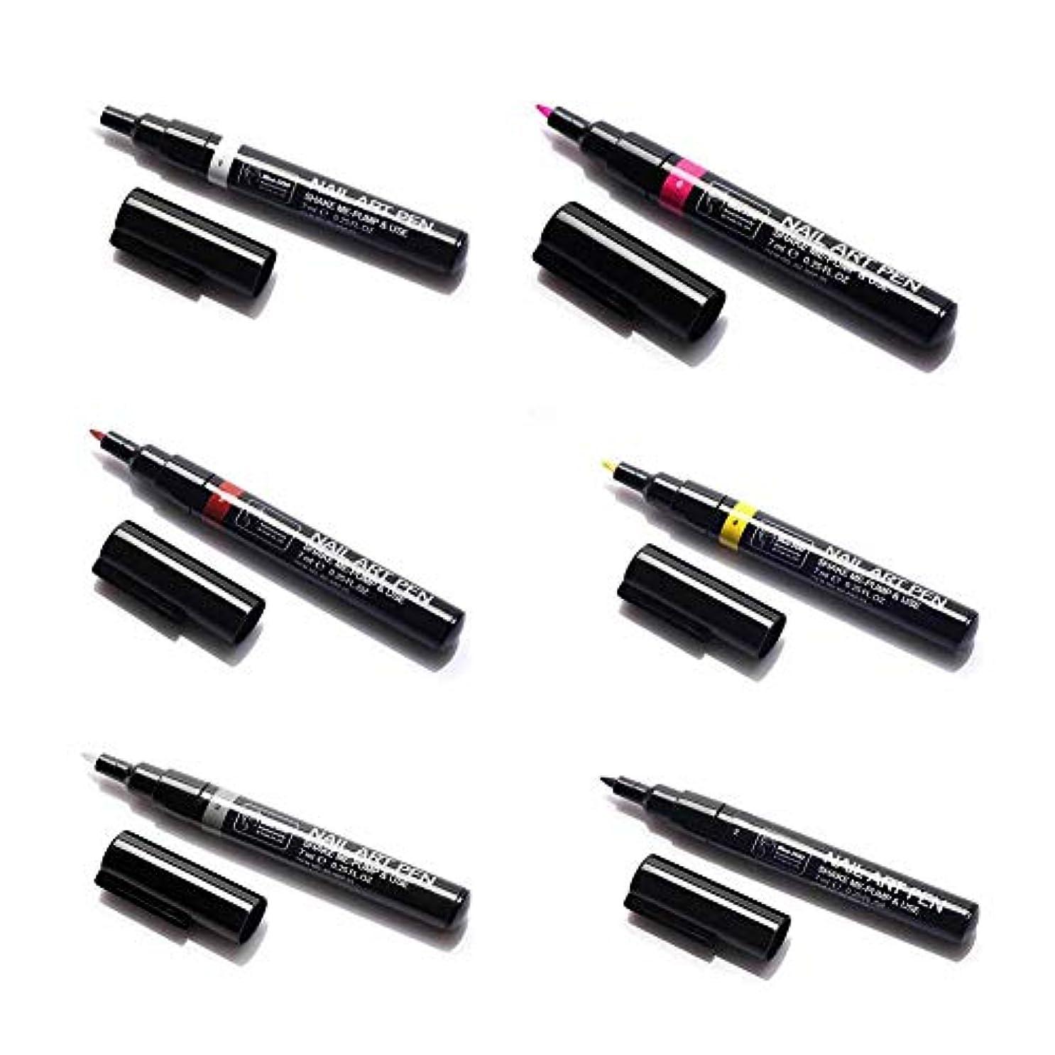 6ピースネイルアートペン、3dネイルアートdiy装飾ネイルポリッシュペンセットネイル美容ツールペイントペン(1#)