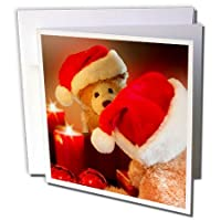 Doreen Erhardt Teddy Bears–クリスマスTeddy Bear in a Santa Hat with Candleと反射–グリーティングカード Set of 12 Greeting Cards