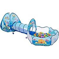 子供の遊びのテントトンネル赤ちゃん遊び家屋内遊園地簡単な折り畳みクロール (Color : Blue, Size : 80 * 90 * 250cm)