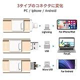 JDDZ iPhone USBメモリ64GB フラッシュドライブ 3in1 iPhone/PC/Android/iPad IOS12対応 OTG パスワード保護高速データ転送(ゴールド)
