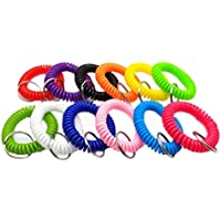 Flyme Stretchable Plastic Bracelet Wrist Coil Wrist Band Key Ring Chain Holder Tag 20 Pieces (Random Color) Orange