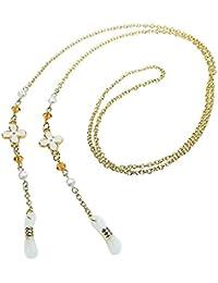 ホワイトフラワー&オレンジスワロフスキー&パール メガネチェーン 眼鏡 チェーン グラスコード めがねチェーン