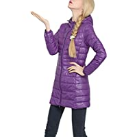 Women's Down Jacket Long Down Jacket Ultra Lightweight Packable Hooded Down Coats