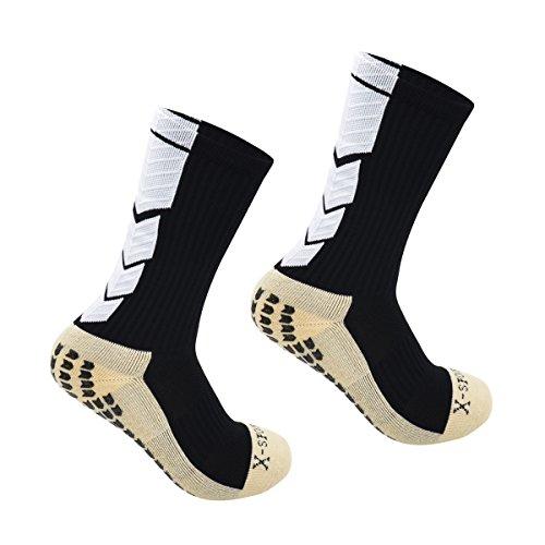 OKISS スポーツソックス 滑り止めメンズ あったか靴下レディースバイクソックス 自転車靴下フリーサイズ 厚手 抗菌 防臭 (ブラック)
