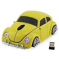 ワイヤレス 車 マウス 無線 2.4GHz 光学式 マウス スーパースポーツ 車 1600DPI かっこいい マウスUSBレシーバ 小型マウス (イェロー)