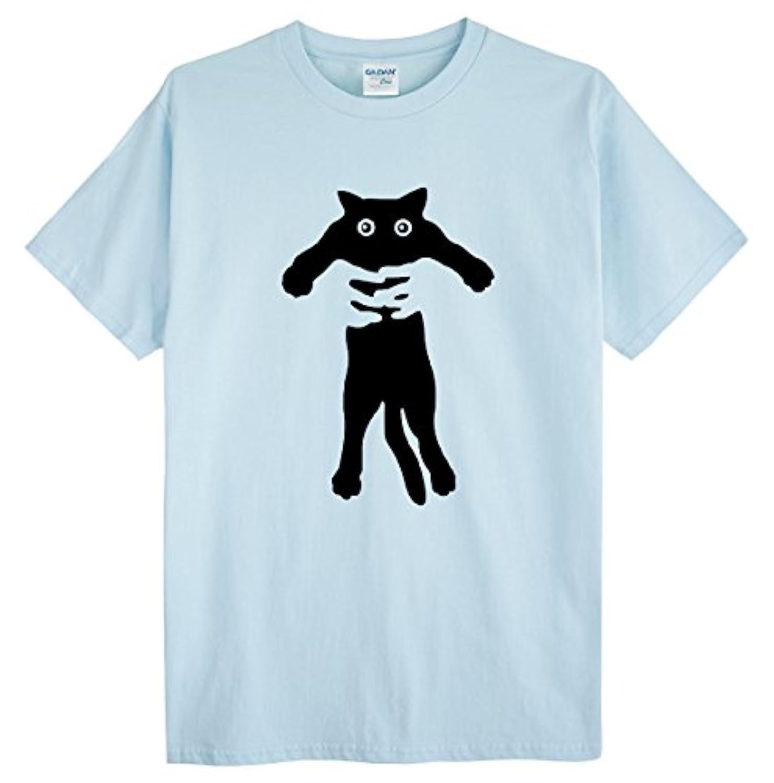 持ってる心のこもった普通に(ゴジラ千) GODZILLASENN メンズtシャツ ネコをつかまって 柄プリントTシャツ ライトブルー XL