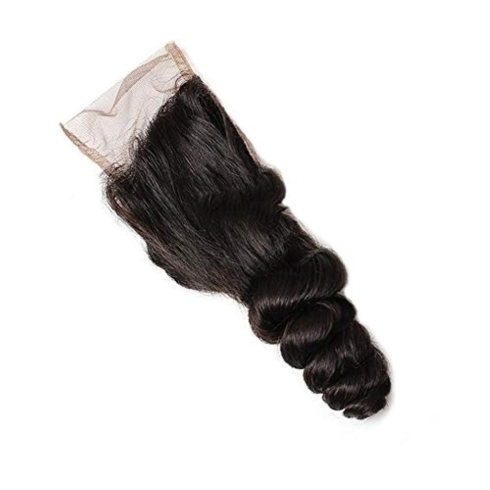 から聞く独特の現金WASAIO ボディとRontal閉鎖Sluttishウェーブフロントのブラジルのヘアエクステンションバンドル人間ウィーブ (色 : 黒, サイズ : 10 inch)