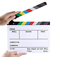 TaiChuDa ? Professional Studio Camera Photography Video Acrylic Dry Erase Director Film Clapboard Clapperboard (9.85x11.8 inch) with Color Sticks [並行輸入品]