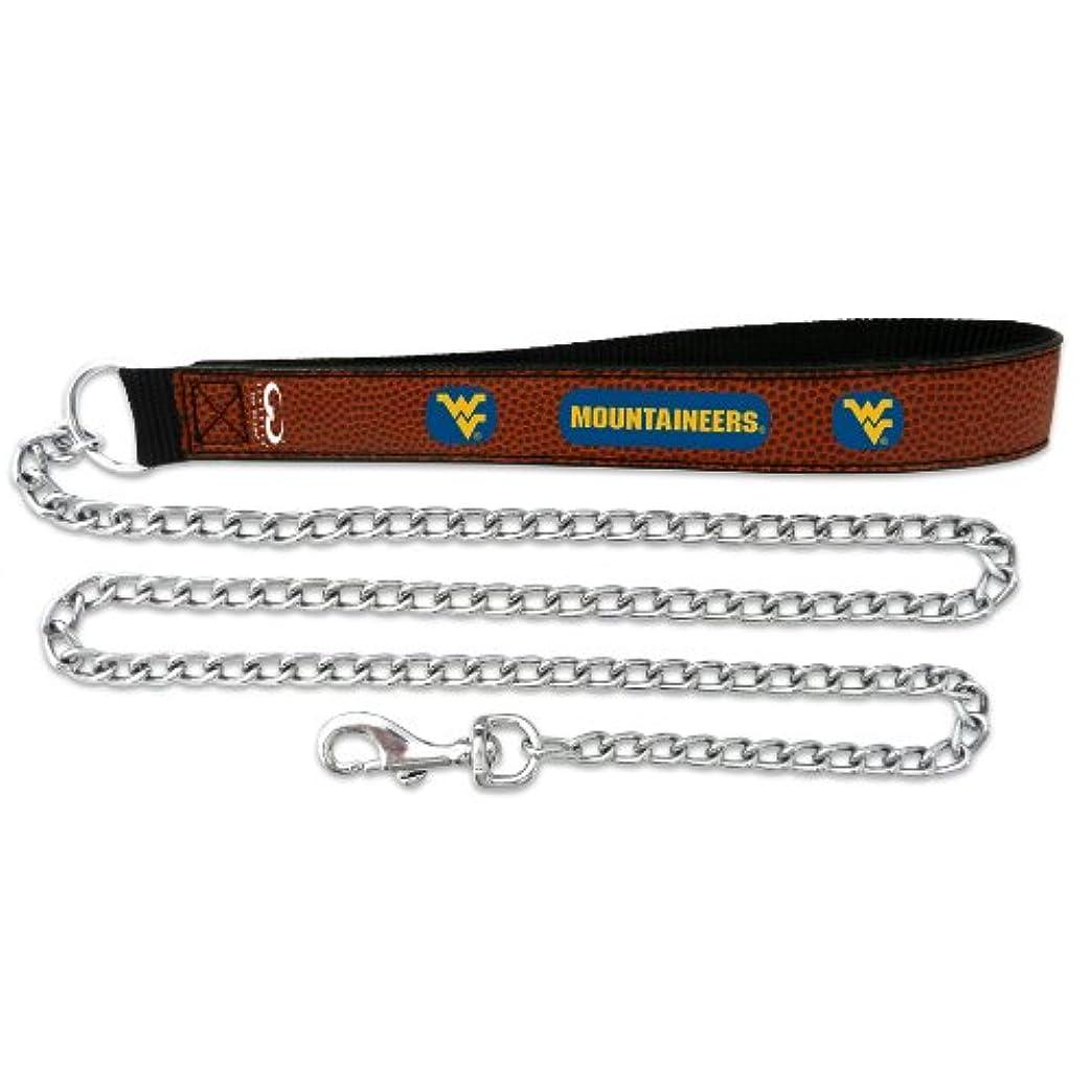 豆慣れているヒョウWest Virginia Mountaineers Football Leather 3.5mm Chain Leash - L