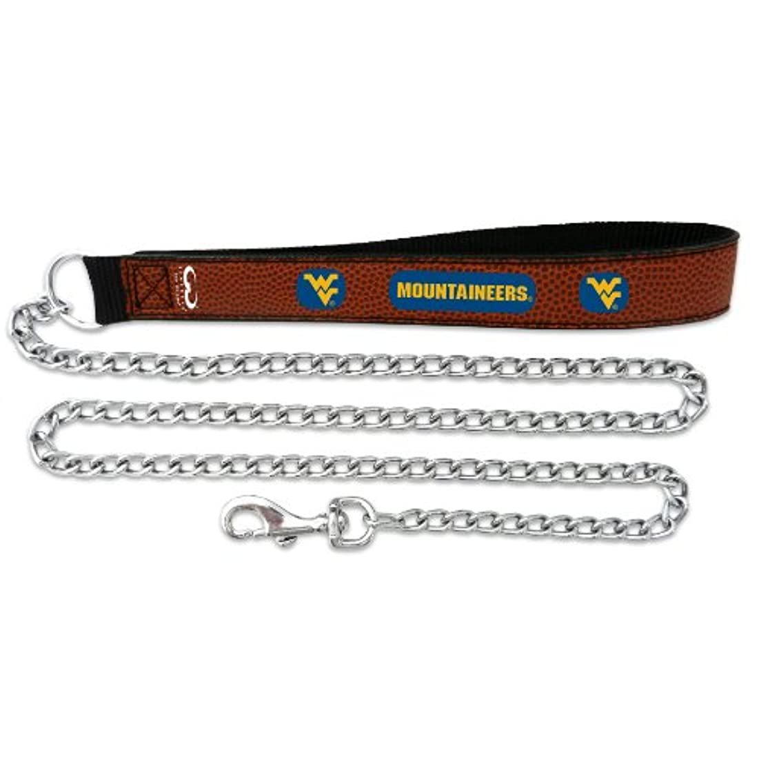 切り刻む機械的地元West Virginia Mountaineers Football Leather 3.5mm Chain Leash - L