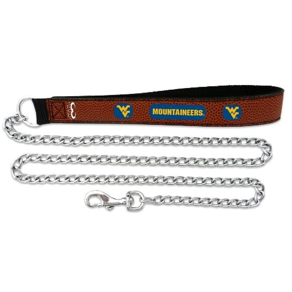だます後方に四West Virginia Mountaineers Football Leather 3.5mm Chain Leash - L