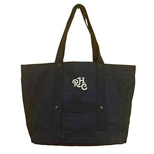 ロンハーマンRONHERMANトートバッグハンドバッグレディースガールズ鞄刺繍カバンロゴ(ブラック)