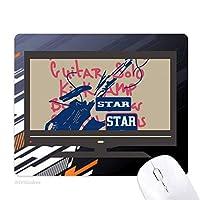 ギター音楽の楽器の落書きパターン ノンスリップラバーマウスパッドはコンピュータゲームのオフィス