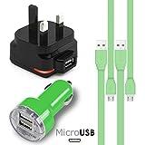 緑 Green MicroUSBマルチチャージャーパック4個1 x 1000 mAh 3ピンUKメインズアダプタープラグx 2 FLAT 1.1メーターUSB 2.0充電ケーブルAlcatel OneTouch Pixi 3 (4) 4 Inch用デュアルポートUSB 2.1 / 1アンプカ...