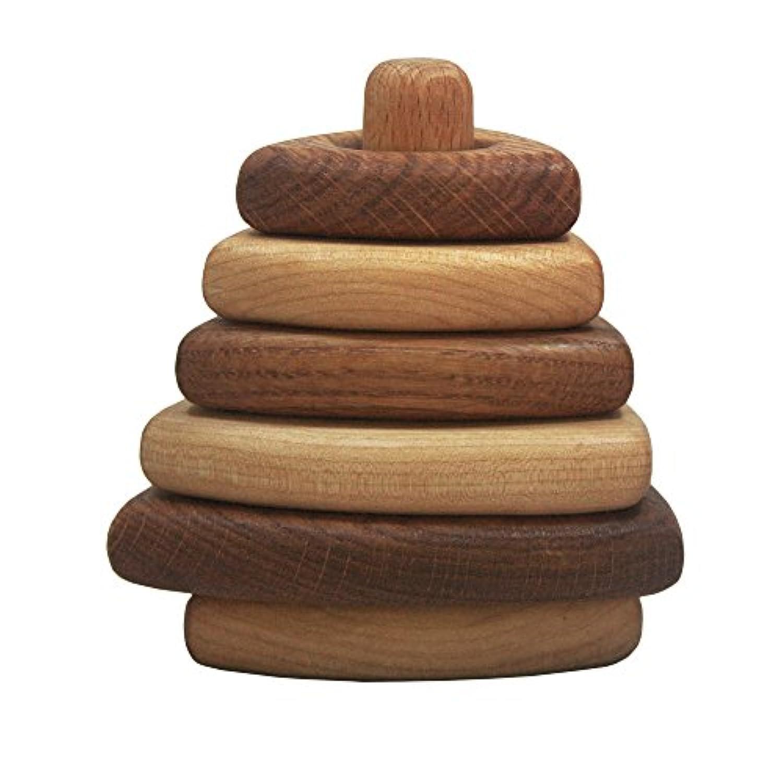 木製三角形Stacking Toy – Oak and Maple – 教育Stackerおもちゃ