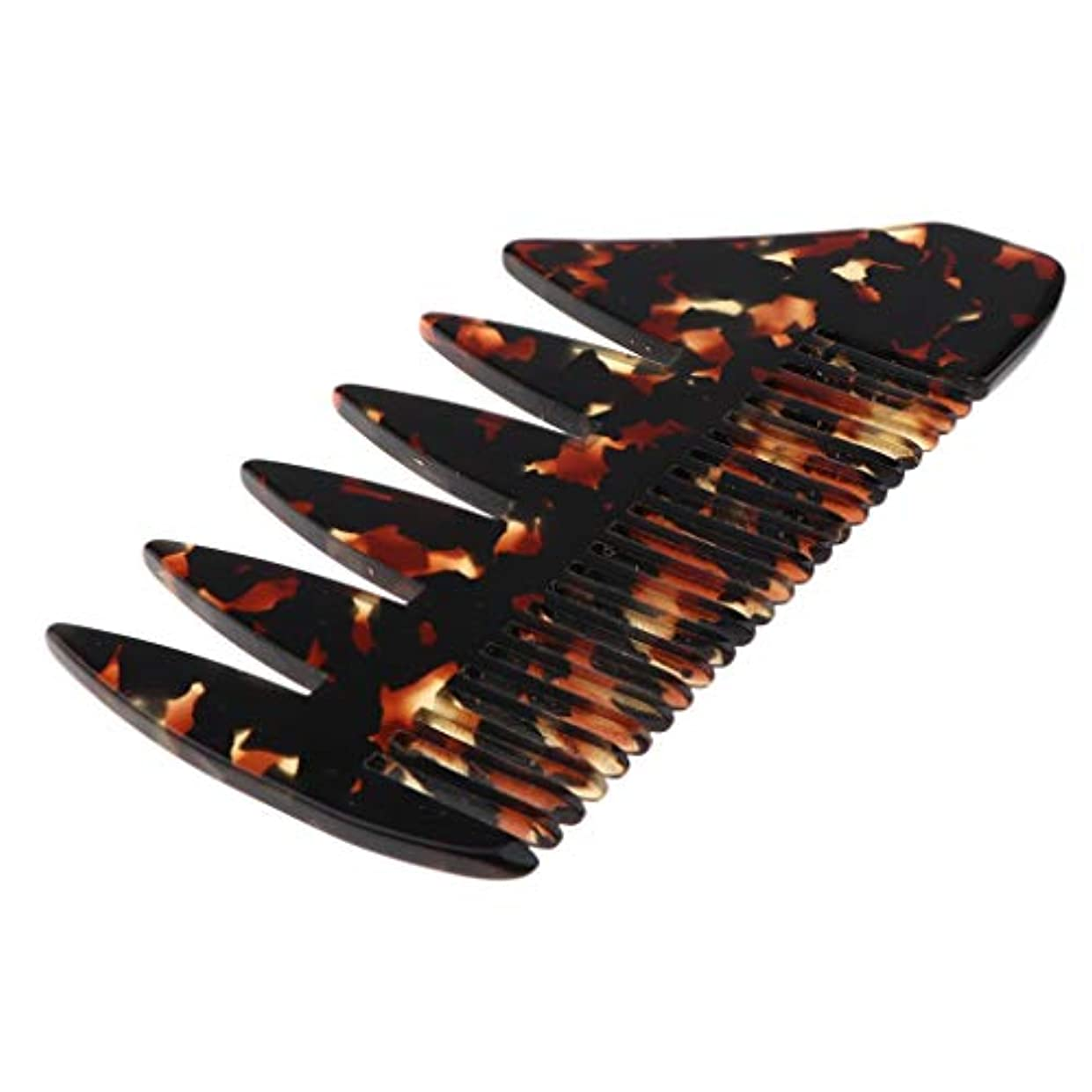 モックパネルスポンサーヘアコーム 広い歯 木製櫛 ヘアブラシ マッサージ櫛 帯電防止 全4色 - 黒