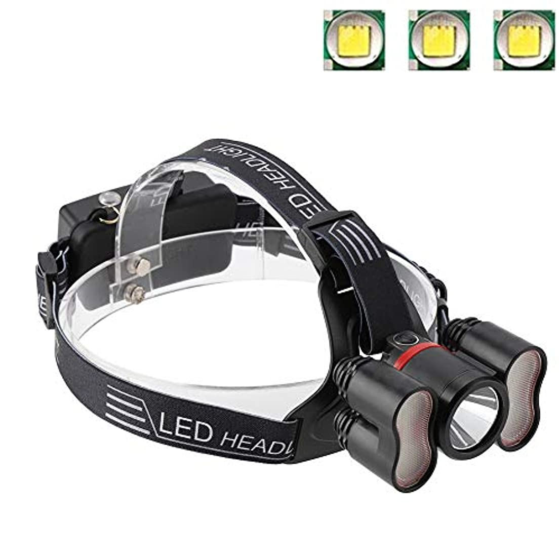 蚊割り当て寛容なヘッドライト懐中電灯、2000LMヘッドライト18650 LED USB充電式防水トラベルヘッドトーチキャンプランプランニングハイキング釣りに適して(#1)